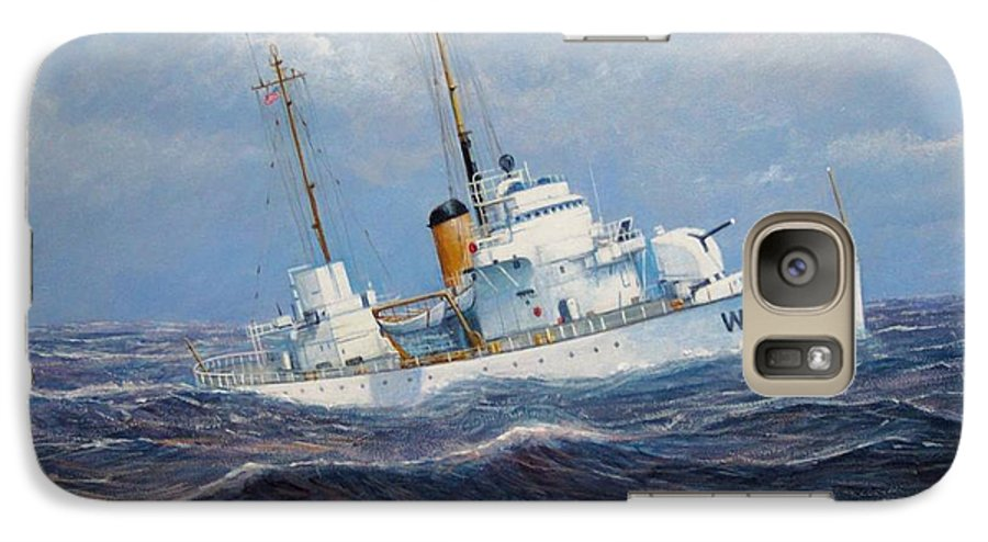 Marine Art Galaxy S7 Case featuring the painting U. S. Coast Guard Cutter Sebago Takes A Roll by William H RaVell III