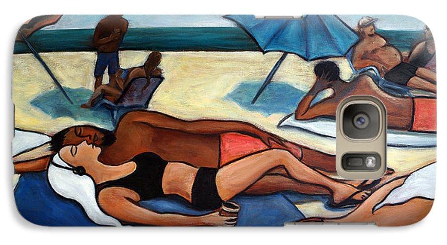 Beach Scene Galaxy S7 Case featuring the painting Un Journee A La Plage by Valerie Vescovi