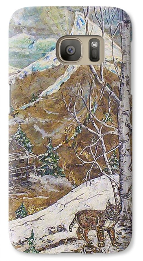 Snow Scene Galaxy S7 Case featuring the painting Unexpected Guest I by Phyllis Mae Richardson Fisher
