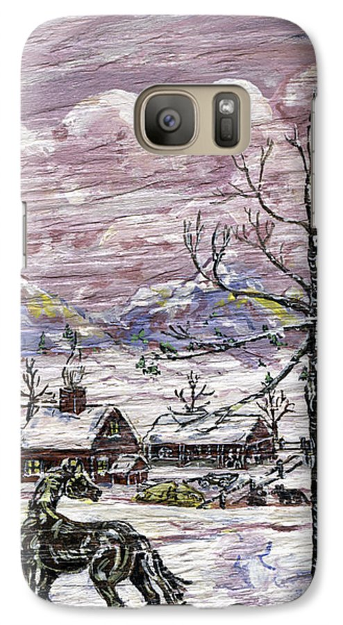 Snow Scene Galaxy S7 Case featuring the painting Unexpected Guest II by Phyllis Mae Richardson Fisher