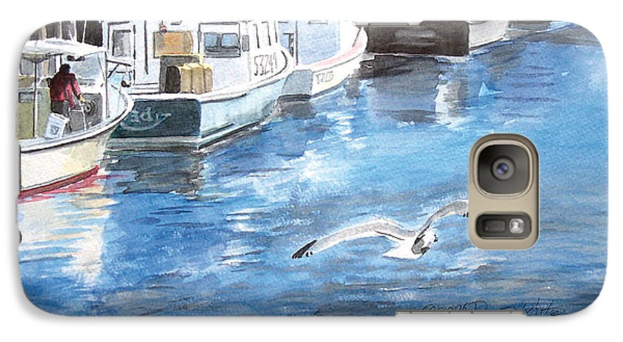 Seagull Galaxy S7 Case featuring the painting Union Wharf by Dominic White