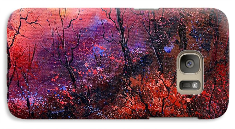 Wood Sunset Tree Galaxy S7 Case featuring the painting Unset In The Wood by Pol Ledent