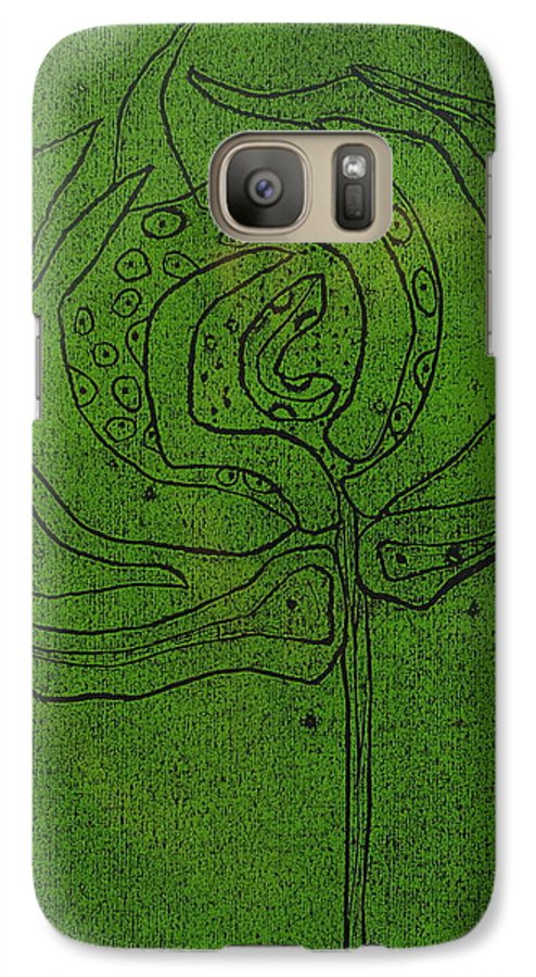 Green Galaxy S7 Case featuring the painting Untitled by Angela Dickerson