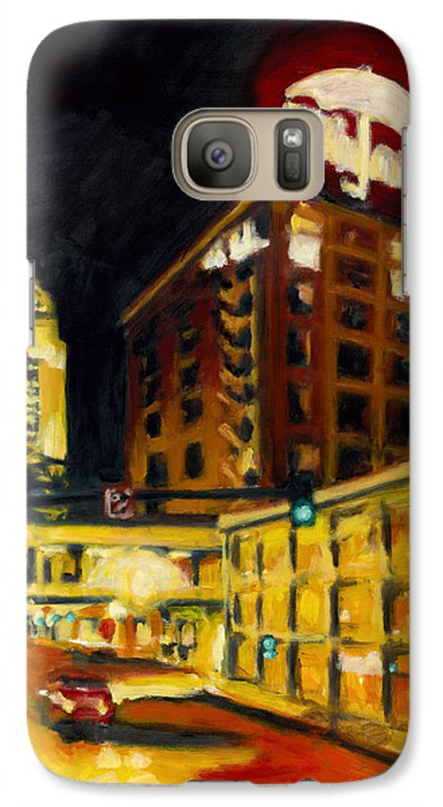 Rob Reeves Galaxy S7 Case featuring the painting Untitled In Red And Gold by Robert Reeves