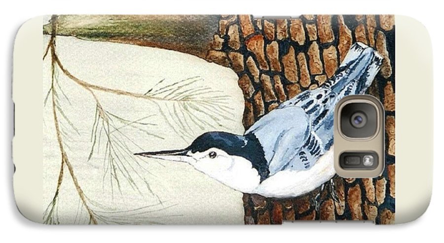 Nuthatch Galaxy S7 Case featuring the painting Upside Down by Debra Sandstrom