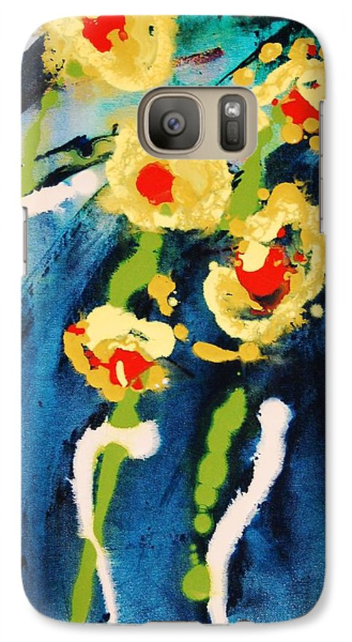 Abstract Galaxy S7 Case featuring the painting Urban Garden by Lauren Luna