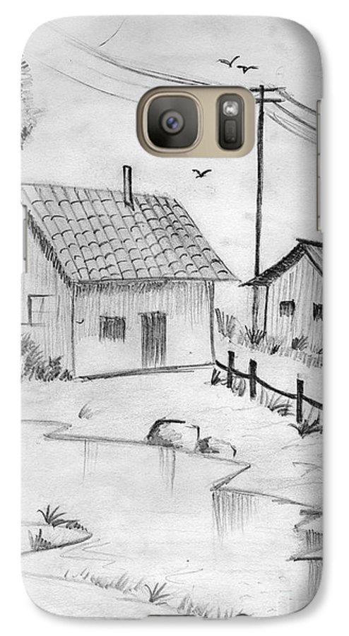 Pencil Drawing Galaxy S7 Case featuring the painting Urbanisation Of Villages - Gaon Chale Shahr Ki Oar by Tanmay Singh