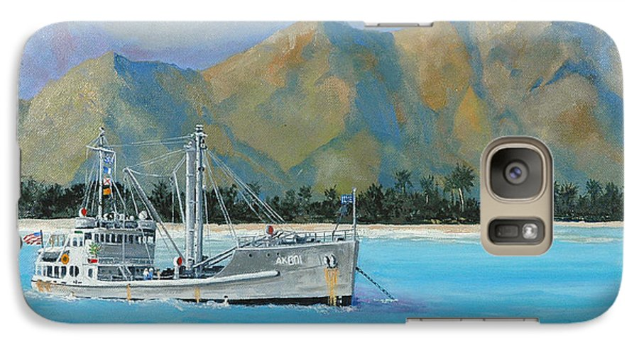 Seascape Galaxy S7 Case featuring the painting Uss Reluctant Anchored Off Ennui by Glenn Secrest