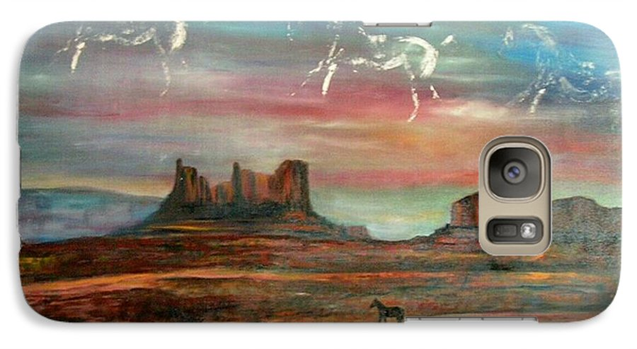 Landscape Galaxy S7 Case featuring the painting Valley Of The Horses by Darla Joy Johnson