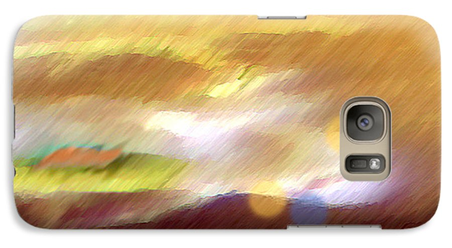 Landscape Galaxy S7 Case featuring the painting Valleylights by Anil Nene