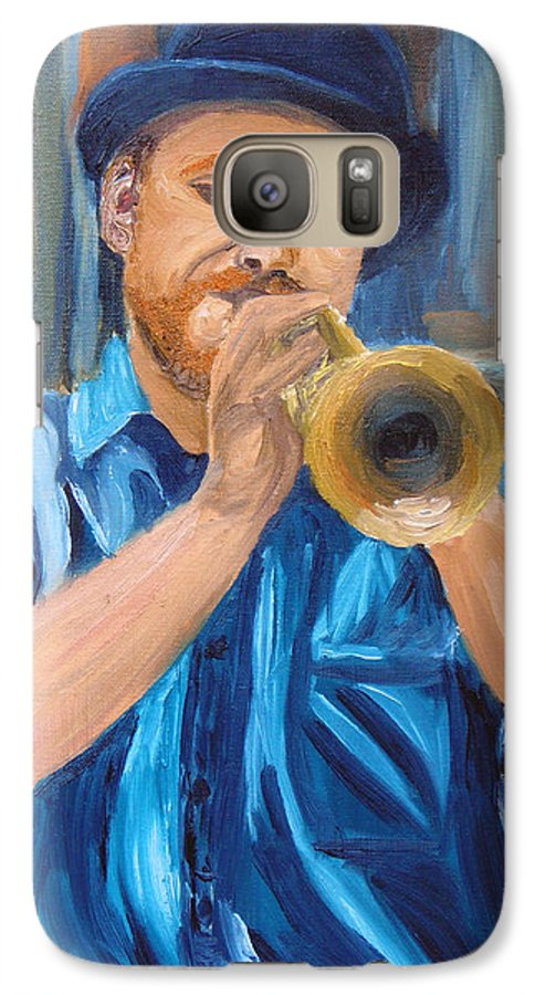 Musician Galaxy S7 Case featuring the painting Van Gogh Plays The Trumpet by Michael Lee