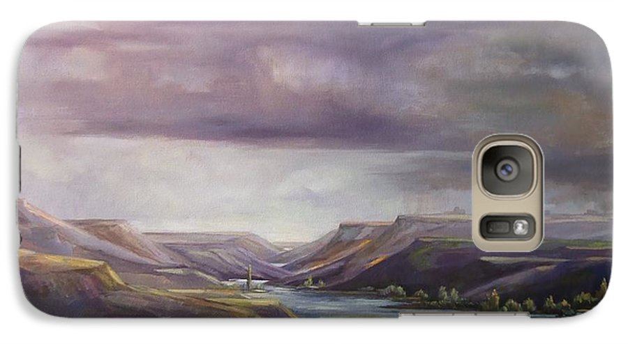Landscape Water Mountains Sky Trees Galaxy S7 Case featuring the painting Vantage Vista by Ruth Stromswold