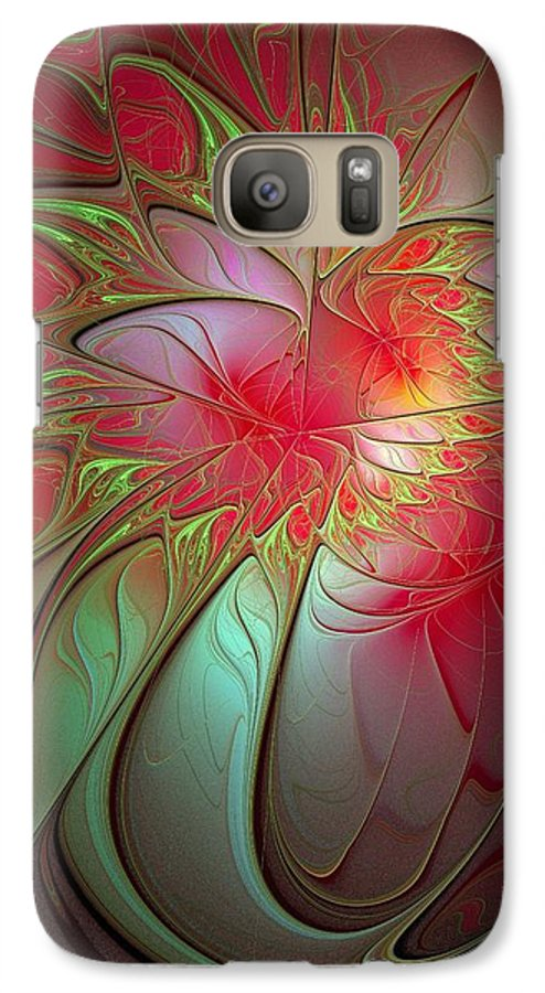 Digital Art Galaxy S7 Case featuring the digital art Vase Of Flowers by Amanda Moore