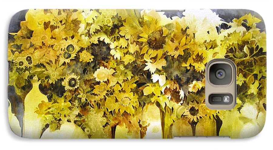 Yellow Flowers;sunflowers;vases;floral;contemporary Floral; Galaxy S7 Case featuring the painting Vases Full Of Blooms  by Lois Mountz