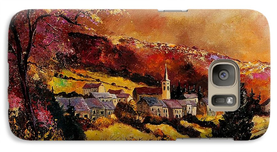 River Galaxy S7 Case featuring the painting Vencimont Village Ardennes by Pol Ledent