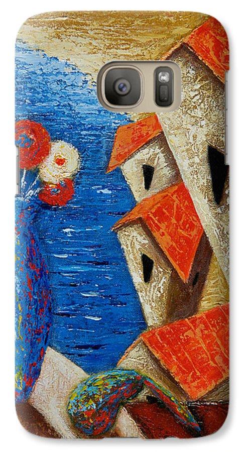 Landscape Galaxy S7 Case featuring the painting Ventana Al Mar by Oscar Ortiz