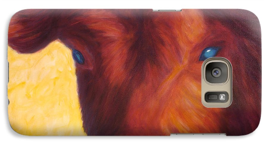 Bull Galaxy S7 Case featuring the painting Vern by Shannon Grissom