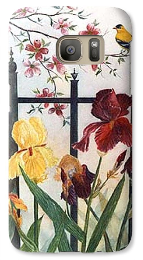 Irises; American Goldfinch; Dogwood Tree Galaxy S7 Case featuring the painting Victorian Garden by Ben Kiger