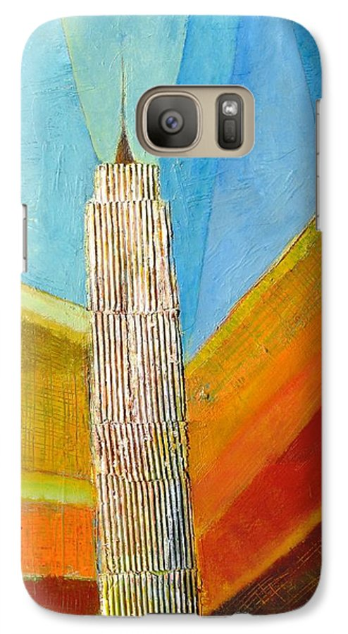 Abstract Cityscape Galaxy S7 Case featuring the painting View From 34th St by Habib Ayat