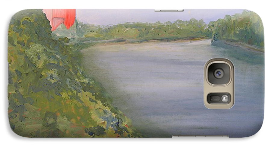 Landscape River Water Nature Galaxy S7 Case featuring the painting View From Edmund Pettus Bridge by Patricia Caldwell