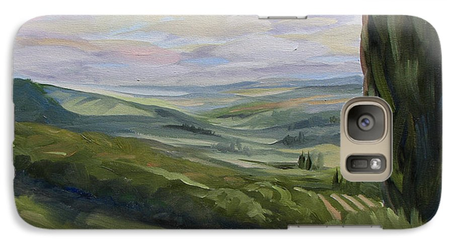 Landscape Galaxy S7 Case featuring the painting View From Sienna by Jay Johnson