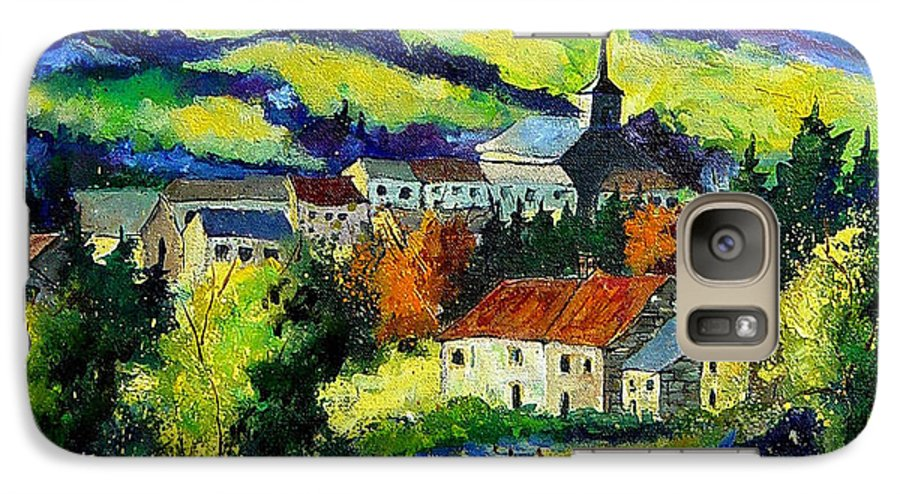 Landscape Galaxy S7 Case featuring the painting Village And Blue Poppies by Pol Ledent