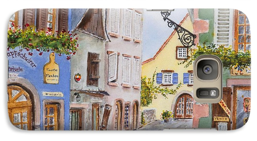 Village Galaxy S7 Case featuring the painting Village In Alsace by Mary Ellen Mueller Legault