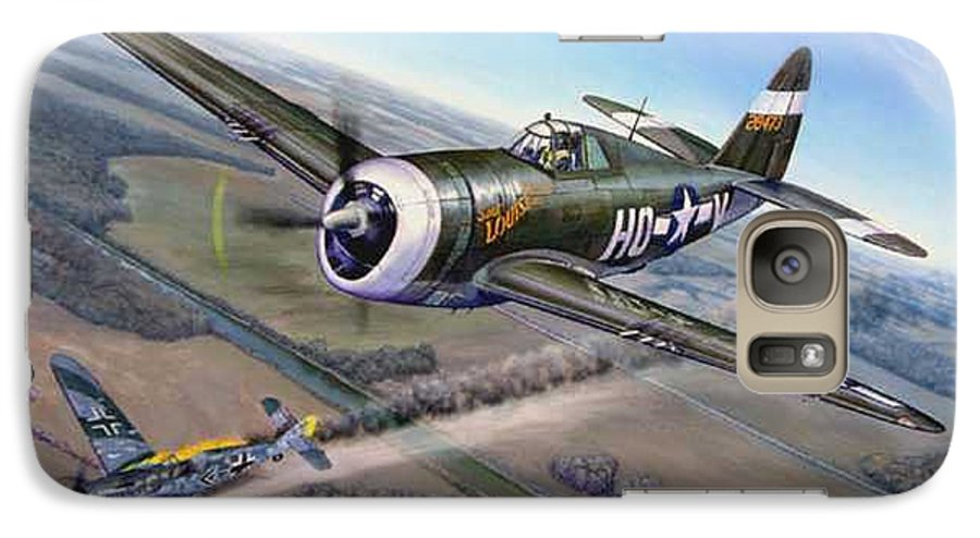 The 352nd Fighter Groups First Ace Shoots Down The German Ace Klaus Mietush On March 8th 1944 Galaxy S7 Case featuring the painting Virgil Meroney Downs Klaus Mietush by Scott Robertson