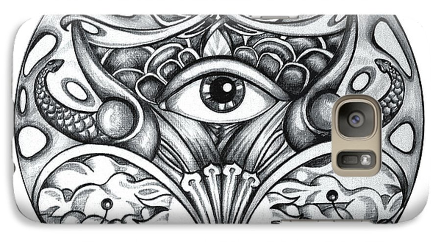 Eye Galaxy S7 Case featuring the drawing Vision by Shadia Derbyshire