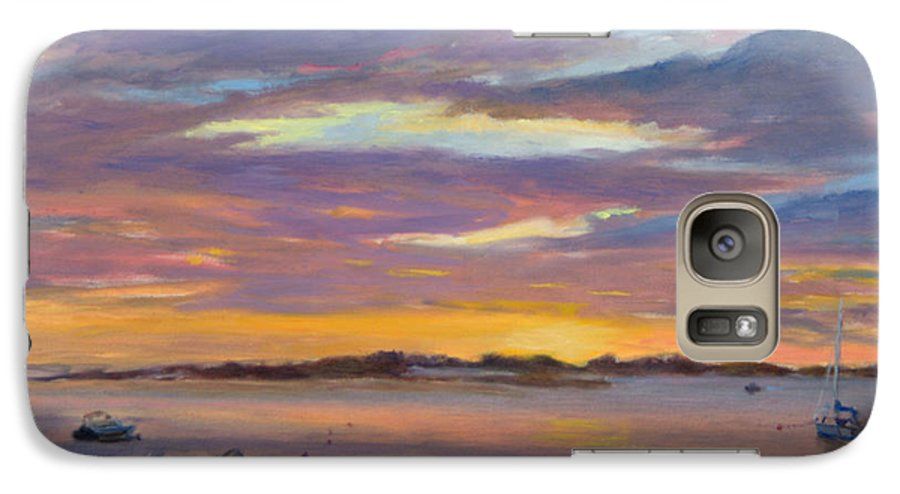 Landscape Galaxy S7 Case featuring the painting Wades Beach Sunset by Phyllis Tarlow