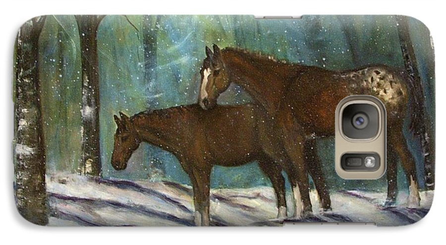 Horses Galaxy S7 Case featuring the painting Waiting For Spring by Darla Joy Johnson