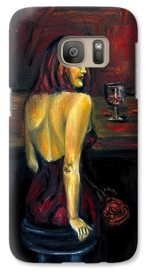 Woman Galaxy S7 Case featuring the painting Waiting... Oil Painting  by Natalja Picugina