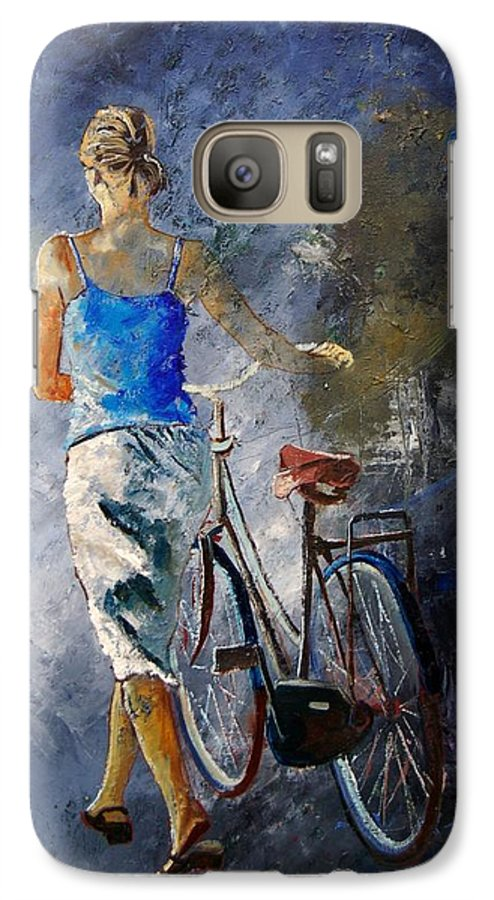 Girl Galaxy S7 Case featuring the painting Waking Aside Her Bike 68 by Pol Ledent