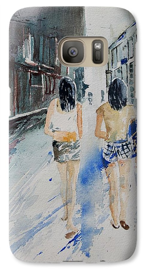 Girl Galaxy S7 Case featuring the painting Walking In The Street by Pol Ledent