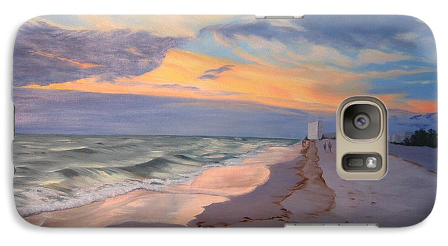 Seascape Galaxy S7 Case featuring the painting Walking On The Beach At Sunset by Lea Novak
