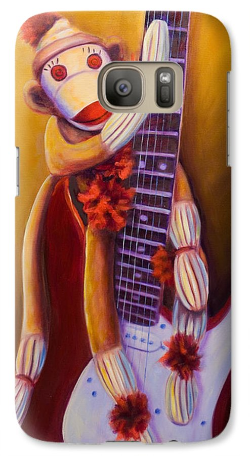 Monkey Galaxy S7 Case featuring the painting Wanna Be A Rocker by Shannon Grissom