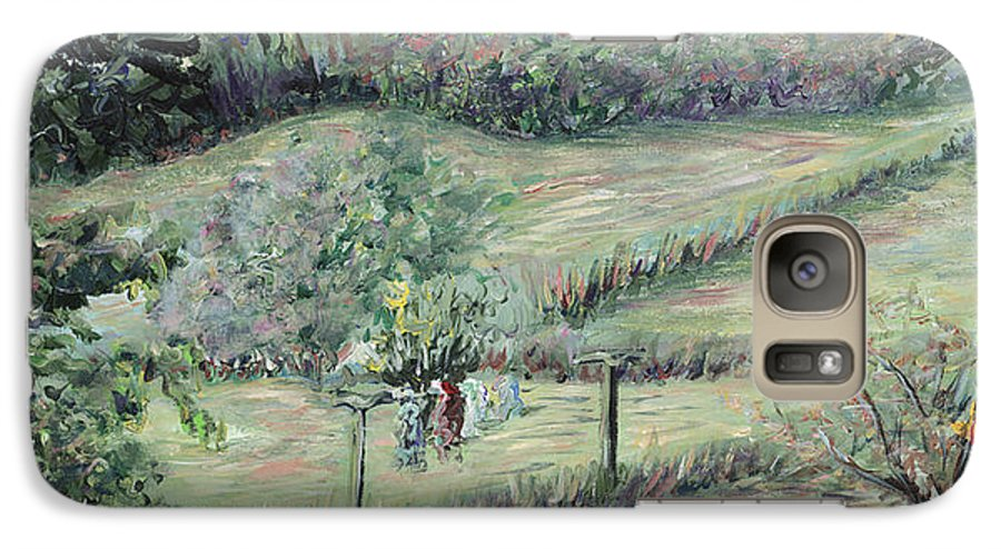Landscape Galaxy S7 Case featuring the painting Washday In Provence by Nadine Rippelmeyer
