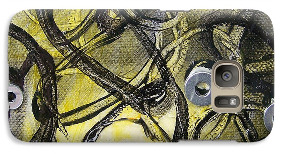Mixed Media Galaxy S7 Case featuring the painting Washer Cells by Angela Dickerson