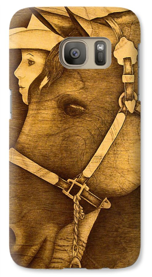 Pyrography;wood Burning; Horse; Western; Halter;cowboy; Hat; Rodeo; Galaxy S7 Case featuring the pyrography Watching The Competition by Jo Schwartz