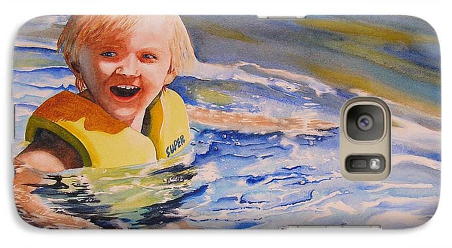 Swimming Galaxy S7 Case featuring the painting Water Baby by Karen Stark