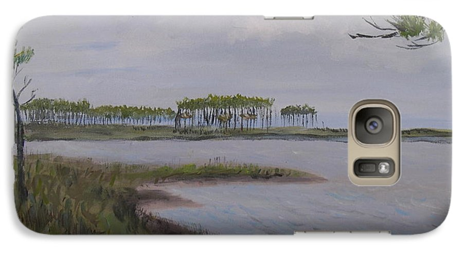 Landscape Beach Coast Tree Water Galaxy S7 Case featuring the painting Water Color by Patricia Caldwell
