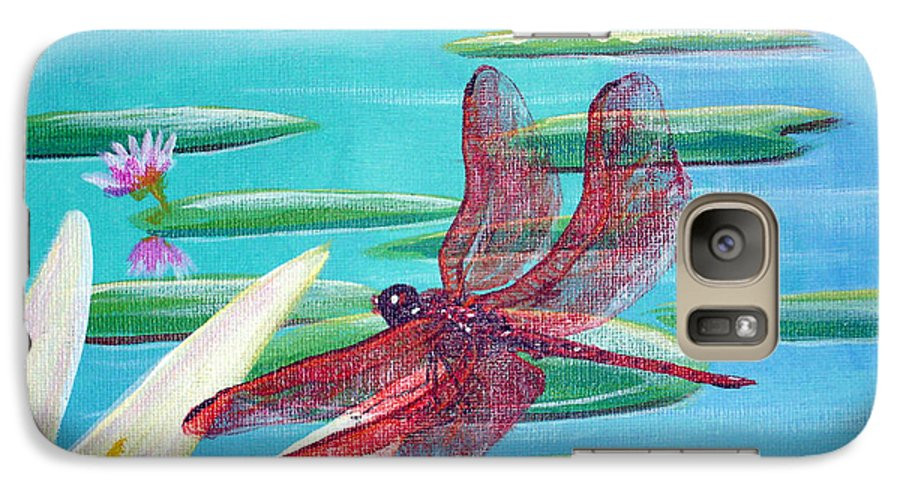 Water Galaxy S7 Case featuring the painting Water Lilies And Dragonfly by Susan Kubes