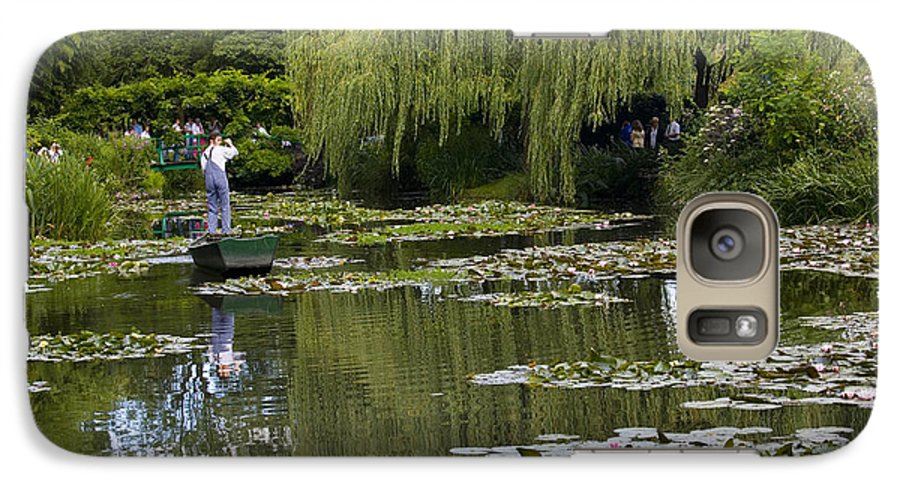 Monet Gardens Giverny France Water Lily Punt Boat Water Willows Galaxy S7 Case featuring the photograph Water Lily Garden Of Monet In Giverny by Sheila Smart Fine Art Photography