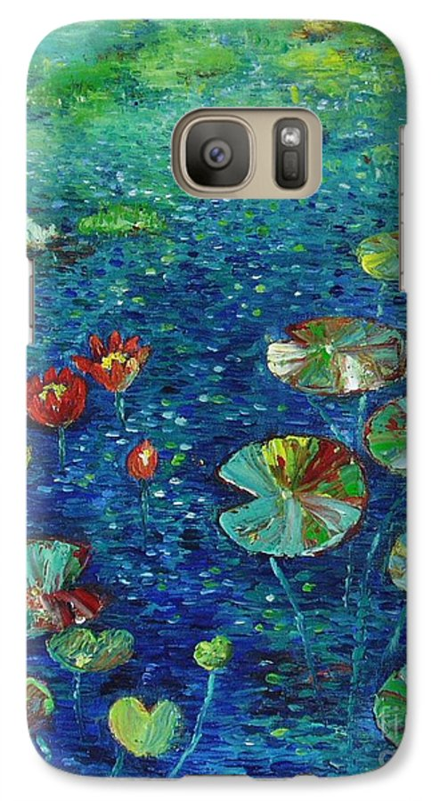 Lotus Paintings Galaxy S7 Case featuring the painting Water Lily Lotus Lily Pads Paintings by Seon-Jeong Kim