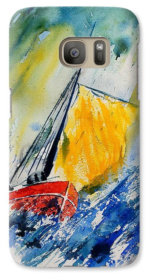 Sea Waves Ocean Boat Sailing Galaxy S7 Case featuring the painting Watercolor 280308 by Pol Ledent
