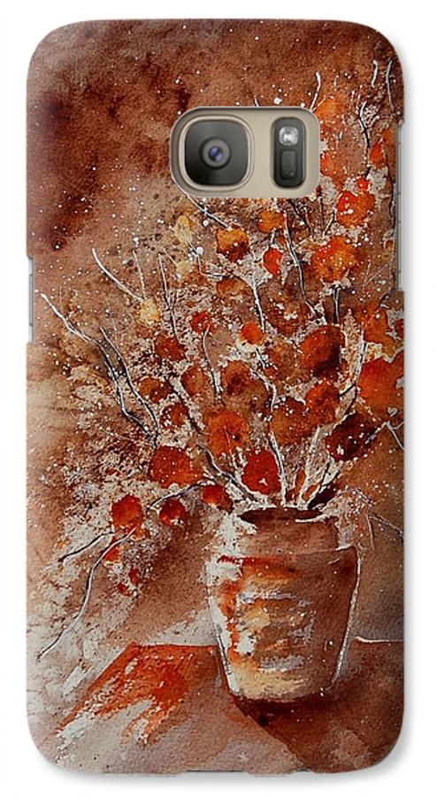 Poppies Galaxy S7 Case featuring the painting Watercolor Autumn Bunch by Pol Ledent