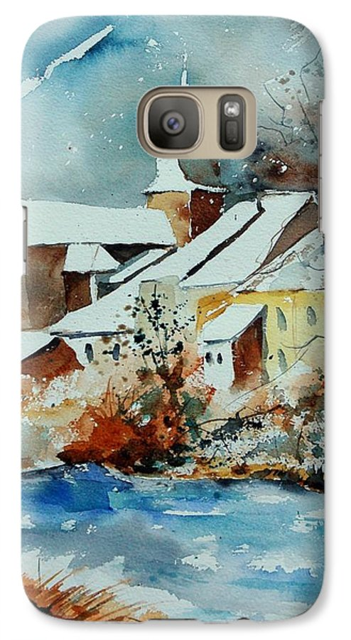 Landscape Galaxy S7 Case featuring the painting Watercolor Chassepierre by Pol Ledent