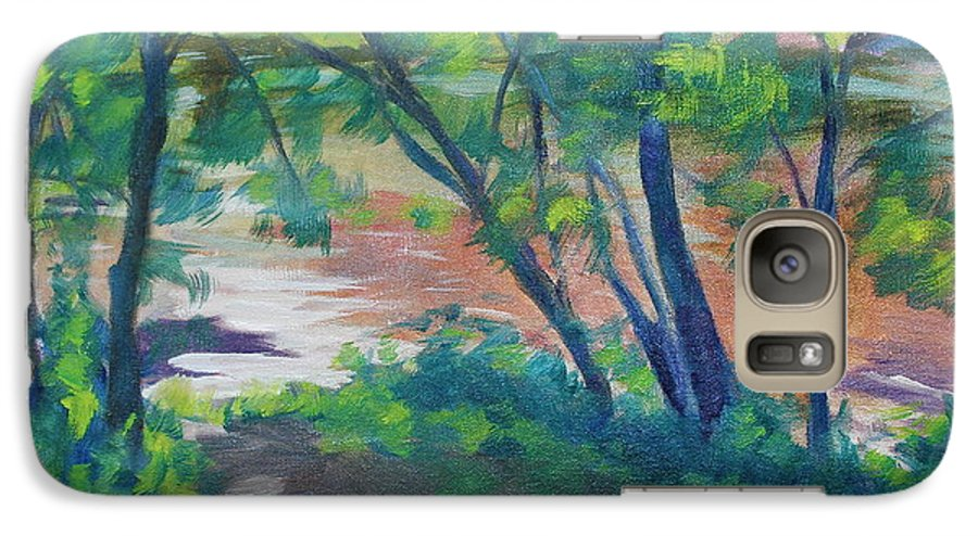 Landscape Galaxy S7 Case featuring the painting Watercress Beach On The Current River  by Jan Bennicoff