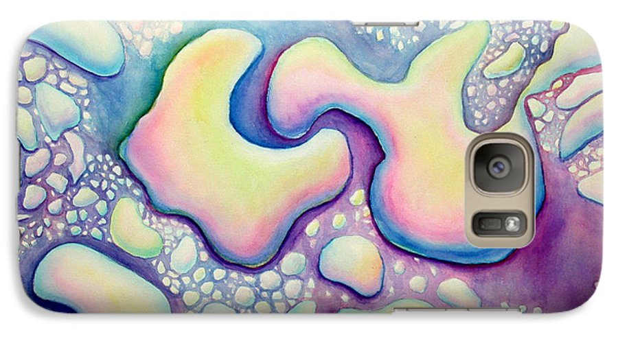 Water Galaxy S7 Case featuring the painting Waterdrop Dance by Nancy Mueller