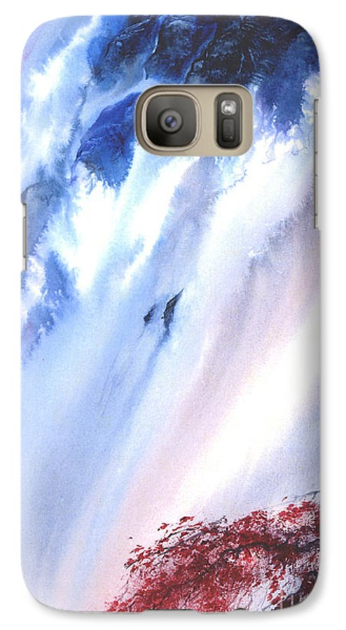 A Waterfall- A Watercolor Painting Galaxy S7 Case featuring the painting Waterfall by Mui-Joo Wee